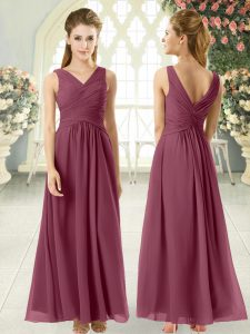 Graceful Burgundy V-neck Zipper Ruching Prom Dresses Sleeveless