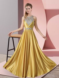 Gold Satin Lace Up Halter Top Sleeveless Floor Length Womens Evening Dresses Beading