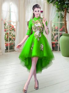 Tulle Half Sleeves High Low Homecoming Dress and Appliques