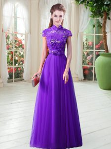 Ideal Tulle Cap Sleeves Floor Length Prom Dress and Appliques