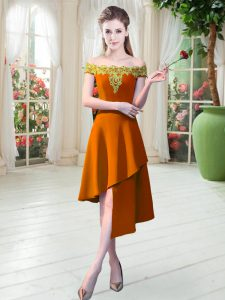 Decent Sleeveless Satin Asymmetrical Zipper Prom Dresses in Orange with Appliques