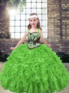 Little Girl Pageant Gowns Party and Wedding Party with Embroidery and Ruffles Straps Sleeveless Lace Up