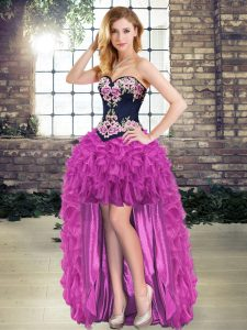 Spectacular Sweetheart Sleeveless Prom Dresses High Low Embroidery Purple Organza