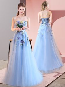 Vintage Blue A-line Appliques Prom Evening Gown Lace Up Tulle Sleeveless Floor Length
