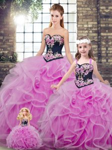 Lilac Ball Gowns Sweetheart Sleeveless Tulle Sweep Train Lace Up Embroidery and Ruffles 15th Birthday Dress