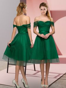 Elegant Off The Shoulder Sleeveless Lace Up Prom Party Dress Green Tulle
