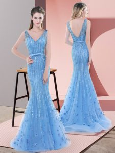Sleeveless Beading and Sequins Backless Prom Evening Gown with Baby Blue Sweep Train
