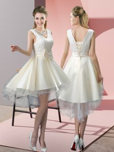 Nice White Lace Up V-neck Lace and Bowknot Prom Dresses Tulle Sleeveless