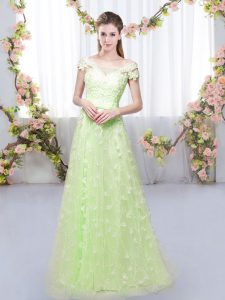 Appliques Court Dresses for Sweet 16 Yellow Green Lace Up Cap Sleeves Floor Length