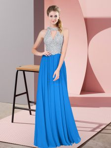 Charming Blue Zipper High-neck Beading Prom Gown Chiffon Sleeveless
