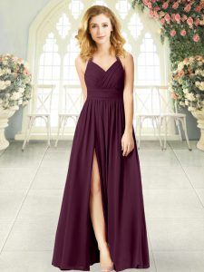 Burgundy Prom Dresses Prom and Party with Ruching Halter Top Sleeveless Zipper