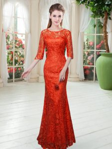 Latest Orange Red Dress for Prom Prom and Party with Lace Scoop Half Sleeves Zipper