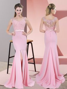 Super Baby Pink Mermaid V-neck Sleeveless Chiffon Sweep Train Zipper Lace and Appliques Prom Dress