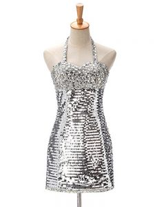 Elegant Silver Halter Top Zipper Ruching Prom Dress Sleeveless