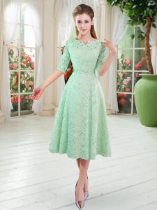 On Sale Tea Length Zipper Prom Evening Gown Apple Green for Prom and Party with Beading
