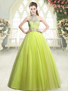 Yellow Green Halter Top Neckline Beading Prom Dress Sleeveless Zipper