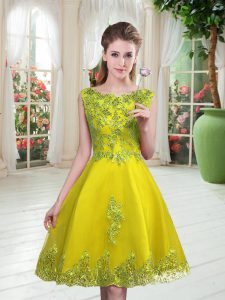 Yellow Green A-line Scoop Sleeveless Tulle Knee Length Lace Up Beading and Appliques Dress for Prom