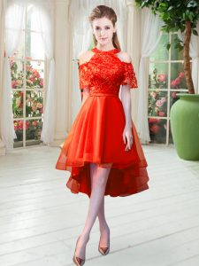 High-neck Short Sleeves Tulle Prom Gown Lace Zipper