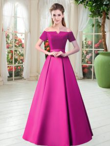 Most Popular Fuchsia Satin Lace Up Prom Dress Short Sleeves Floor Length Belt