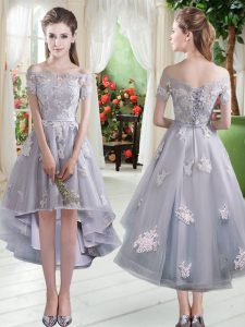 Tulle Off The Shoulder Cap Sleeves Lace Up Appliques Dress for Prom in Silver