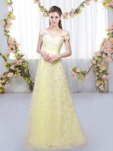 Light Yellow Cap Sleeves Tulle Lace Up Quinceanera Court of Honor Dress for Prom and Party and Wedding Party