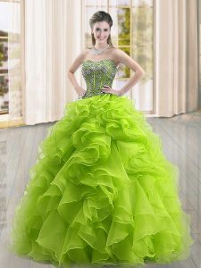 On Sale Yellow Green Sweetheart Neckline Beading and Ruffles Quinceanera Dresses Sleeveless Lace Up
