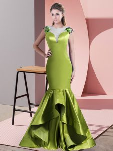 Traditional Green and Olive Green Mermaid Satin Scoop Sleeveless Beading Side Zipper Sweep Train