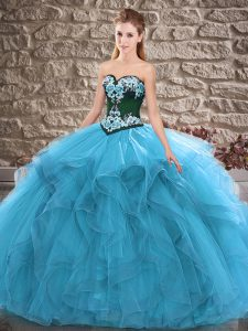 Dynamic Blue Lace Up Sweet 16 Dress Beading and Embroidery Sleeveless Floor Length