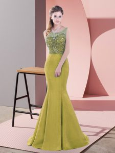 Noble Olive Green Backless Scoop Beading and Lace Dress for Prom Satin Sleeveless Sweep Train