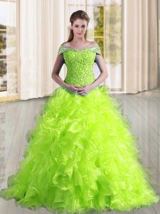 Decent Sleeveless Beading and Lace and Ruffles Lace Up Sweet 16 Quinceanera Dress with Yellow Green Sweep Train