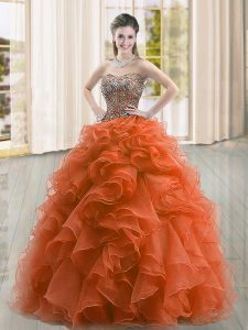 Luxury Rust Red Sweetheart Neckline Beading and Ruffles Sweet 16 Quinceanera Dress Sleeveless Lace Up