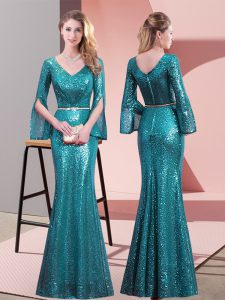 Custom Fit Teal Homecoming Dress Prom and Party with Belt V-neck Long Sleeves Zipper