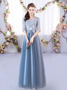 Floor Length Blue Dama Dress for Quinceanera Tulle Half Sleeves Lace
