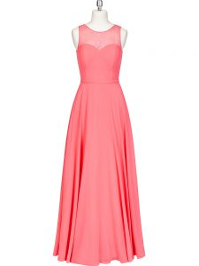 Chiffon Scoop Sleeveless Zipper Lace and Belt Homecoming Dress in Watermelon Red