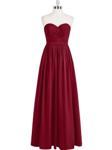 Best Wine Red Sleeveless Chiffon Zipper Prom Party Dress for Prom and Party and Military Ball