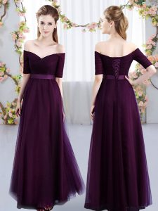 Tulle Off The Shoulder Short Sleeves Lace Up Ruching Vestidos de Damas in Dark Purple
