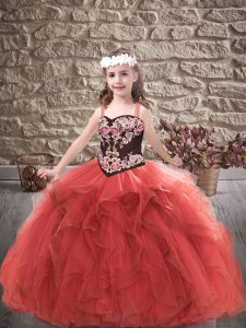 Straps Sleeveless Kids Pageant Dress Floor Length Embroidery and Ruffles Red Tulle