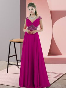 Fuchsia Chiffon Backless V-neck Sleeveless Floor Length Prom Evening Gown Beading