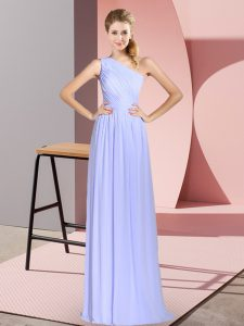 One Shoulder Sleeveless Dress for Prom Floor Length Ruching Baby Blue Chiffon