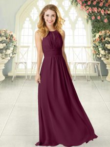 Superior Chiffon Sleeveless Floor Length Evening Wear and Ruching