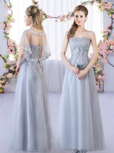 Charming Floor Length Empire Sleeveless Grey Court Dresses for Sweet 16 Lace Up