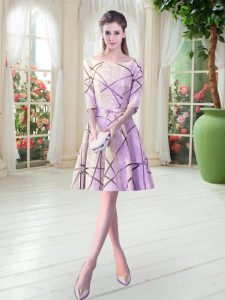 Decent Scoop Half Sleeves Lace Up Prom Party Dress Lilac