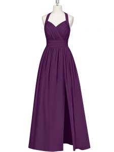 Decent Eggplant Purple Sleeveless Chiffon Zipper Evening Dress for Prom and Party