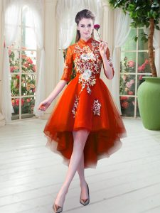 High Low A-line Half Sleeves Orange Red Prom Dresses Zipper