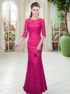 Luxurious Half Sleeves Floor Length Lace Zipper Dress for Prom with Hot Pink