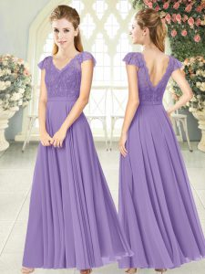 Cap Sleeves Ankle Length Lace Zipper Prom Evening Gown with Lavender