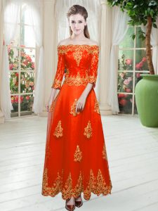 Orange Red Tulle Lace Up 3 4 Length Sleeve Floor Length Lace