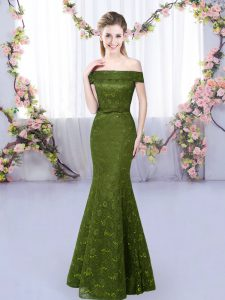 Unique Floor Length Lace Up Quinceanera Dama Dress Olive Green for Prom and Party with Lace