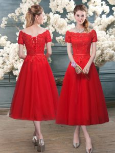 A-line Dress for Prom Red Off The Shoulder Tulle Short Sleeves Tea Length Lace Up