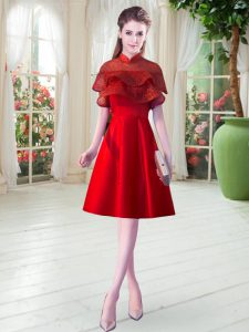 Red Cap Sleeves Lace Knee Length Dress for Prom